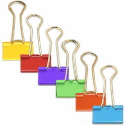 """JAM Paper® Designer Binder Clips, Small, 1/2"""" Capacity, Assorted Colors, 25 Clips Per Bag, Pack Of 6 Bags"""
