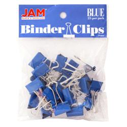 "JAM Paper® Designer Binder Clips, Small, 1/2"" Capacity, Blue, Bag Of 25 Clips"