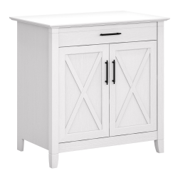 Bush Furniture Key West Secretary Desk With Keyboard Tray And Storage Cabinet, Pure White Oak, Standard Delivery