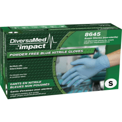 ProGuard Disposable Nitrile Powder Free Exam - Small Size - Nitrile - Blue - Beaded Cuff, Textured Grip, Powder-free, Ambidextrous, Disposable - For Dental, Medical, Food, Laboratory Application - 100 / Box