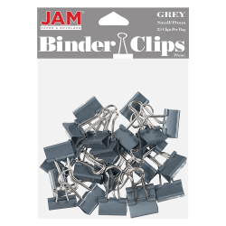 "JAM Paper® Designer Binder Clips, Small, 1/2"" Capacity, Gray, Bag Of 25 Clips"