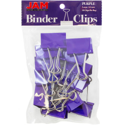"""JAM Paper® Designer Binder Clips, Small, 1/2"""" Capacity, Purple, Pack Of 25 Clips"""