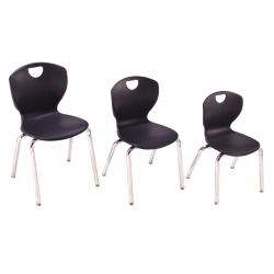"""Scholar Craft™ Ovation Student Stacking Chairs, 18""""H, Black/Chrome, Set Of 4"""
