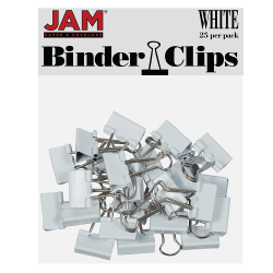 "JAM Paper® Designer Binder Clips, Small, 1/2"" Capacity, White, Pack Of 25 Clips"