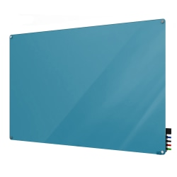 "Ghent Harmony Magnetic Glass Dry-Erase Board, 24"" x 36"", Blue"