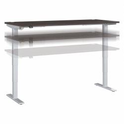 "Move 40 Series by Bush Business Furniture Height-Adjustable Standing Desk, 72"" x 30"", Storm Gray/Cool Gray Metallic, Standard Delivery"