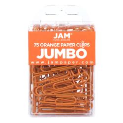 "JAM Paper® Jumbo Paper Clips, 2"", Orange, Pack Of 75 Paper Clips"