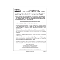 """ComplyRight City & County Specialty Posters, English, Broward County, Wage Recovery, 8 1/2"""" x 11"""""""