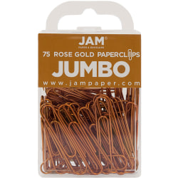"""JAM Paper® Jumbo Paper Clips, 2"""", Rose Gold, Pack Of 75 Paper Clips"""
