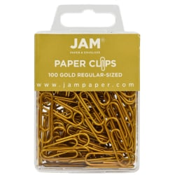 """JAM Paper® Paper Clips, 1-1/4"""", 25-Sheet Capacity, Gold, Pack Of 100 Paper Clips"""