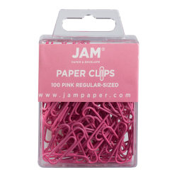"""JAM Paper® Paper Clips, 1-1/4"""", 25-Sheet Capacity, Pink, Pack Of 100 Paper Clips"""