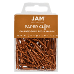 """JAM Paper® Paper Clips, 1-1/4"""", 25-Sheet Capacity, Rose Gold, Pack Of 100 Paper Clips"""