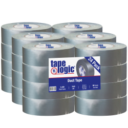 """Tape Logic® Color Duct Tape, 3"""" Core, 2"""" x 180', Silver, Case Of 24"""