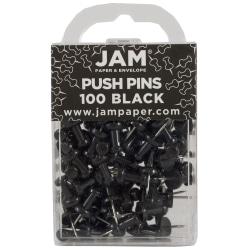 "JAM Paper® Pushpins, 1/2"", Black, Pack Of 100 Pushpins"