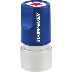 "Stamp-Ever Pre-inked Star Round Stamp - Design Stamp - ""STAR"" - 0.75"" Impression Diameter - 50000 Impression(s) - Red - 1 Each"