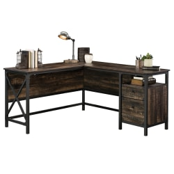 "Sauder® Steel River 59-7/8""W L-Shaped Desk, Carbon Oak"