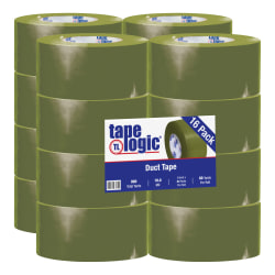 "Tape Logic® Color Duct Tape, 3"" Core, 3"" x 180', Olive Green, Case Of 16"