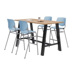 """KFI Midtown Bistro Table With 4 Stacking Chairs, 41""""H x 36""""W x 72""""D, Kensington Maple/Sky Blue"""