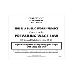 "ComplyRight State Specialty Poster, English, Connecticut, Prevailing Wage Law, 8 1/2"" x 11"""