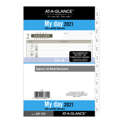 "At-A-Glance® Daily Planner Refill, 5-1/2"" x 8-1/2"", Black/White, January To December 2021, 481-125"