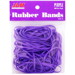 JAM Paper® Rubber Bands, Size 33, Purple, Bag Of 100 Rubber Bands