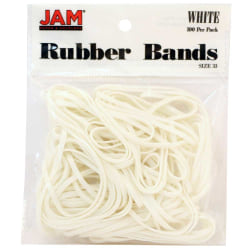 JAM Paper® Rubber Bands, Size 33, White, Bag Of 100 Rubber Bands