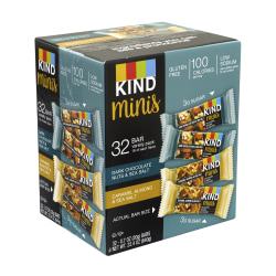 KIND Minis Dark Chocolate Nuts & Sea Salt and Caramel Almond & Sea Salt Variety, 0.7 oz, 32 Count