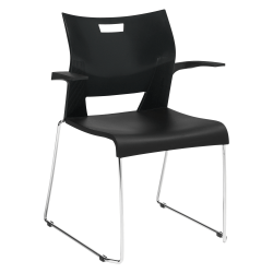 Global® Duet Stacking Chair With Arms, Asphalt Night/Chrome