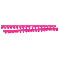 "Barker Creek Scalloped-Edge Border Strips, 2 1/4"" x 36"", Happy Hot Pink, Pre-K To College, Pack Of 26"