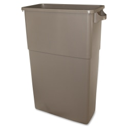 Thin Bin 23-gal Beige Container - 23 gal Capacity - Handle, Durable - Polyethylene - Beige