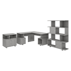"""kathy ireland® Home by Bush Furniture Madison Avenue 60""""W L-Shaped Desk With Lateral File Cabinet And Bookcase, Modern Gray, Standard Delivery"""
