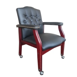 Boss Traditional Series Guest Chair, Black/Mahogany