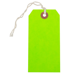 """JAM Paper® Medium Gift Tags, 4-3/4"""" x 2-3/8"""", Neon Green, Pack Of 10 Tags"""