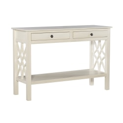 """Linon Home Decor Products Camille 2-Drawer Console Table With Shelf, 30""""H x 44""""W x 15""""D, Antique White"""