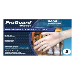 ProGuard Vinyl PF General Purpose Gloves - Small Size - Unisex - Vinyl - Clear - Disposable, Powder-free, Beaded Cuff, Ambidextrous, Comfortable - For Food Handling, Cleaning, Painting, Manufacturing, Assembling, General Purpose - 100 / Box
