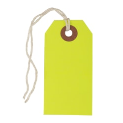 "JAM Paper® Small Gift Tags, 3-1/4"" x 1-9/16"", Neon Yellow, Pack Of 10 Tags"