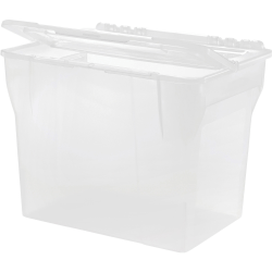 """IRIS Split Lid Hanging File Tote Box - External Dimensions: 10.7"""" Length x 14.3"""" Width x 11.5"""" Height - Media Size Supported: Letter 8.50"""" x 11"""" - Stackable - Clear - For Document, File - 1 Each"""