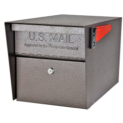 "Mail Boss Mail Manager Locking Security Mailbox, 11-1/4""H x 10-3/4""W x 21""D, Bronze"