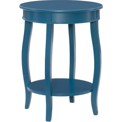 "Powell Nora Round Side Table With Shelf, 24"" x 18"", Teal"