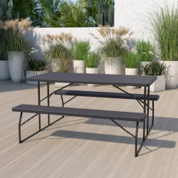 "Flash Furniture Insta-Fold Wood-Grain Plastic Folding Picnic Table and Benches, 28-1/4""H x 53-3/4""W x 58-1/4""D, Charcoal"