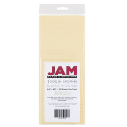 "JAM Paper® Tissue Paper, 26""H x 20""W x 1/8""D, Ivory, Pack Of 10 Sheets"