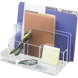 "Kantek Acrylic File Sorter Desk Organizer - 10.6"" Height x 11"" Width x 6.5"" Depth - Desktop - Clear - Acrylic - 1Each"