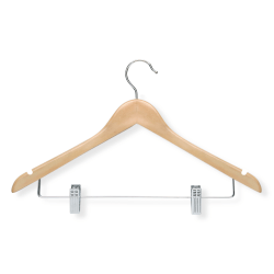 Honey-Can-Do Wood Suit Hangers With Clips, Maple, Pack Of 12