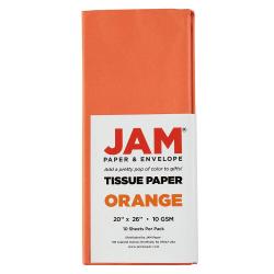 "JAM Paper® Tissue Paper, 26""H x 20""W x 1/8""D, Orange, Pack Of 10 Sheets"