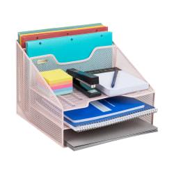 """Mind Reader 5-Compartment Desk Organizer, 9-1/8""""H x 12-1/2""""W x 11""""D, Pink"""