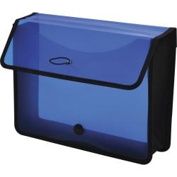 "Lion EPAND-N-FILE Poly Expanding Wallet - Letter - 8 1/2"" x 11"" Sheet Size - 3"" Expansion - Canvas, Polypropylene - Transparent Blue - 1 Each"