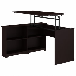 "Bush Furniture Cabot 3 Position Sit to Stand Corner Bookshelf Desk, 52""W, Espresso Oak, Standard Delivery"