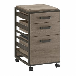 Bush Furniture Refinery 3-Drawer Mobile File Cabinet, Restored Gray, Standard Delivery