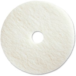 "Genuine Joe Polishing Floor Pad - 17"" Diameter - 5/Carton x 17"" Diameter x 1"" Thickness - Fiber - White"