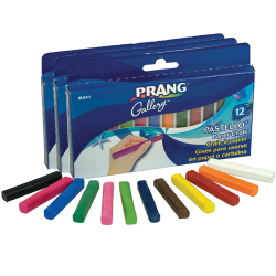 "Prang® Pastello Chalk Pastels, 2-1/8"" x 5/16"", Assorted Colors, 12 Pieces Per Box, Pack Of 3 Boxes"